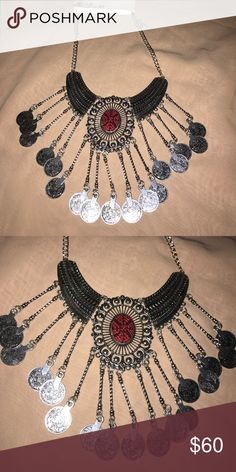 ♦️FINAL PRICE♦️ Statement necklace Such a cute necklace with embroidery detail and silver coins. Jewelry Necklaces