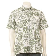 Blocky Tapa Classic Sandcloth ™ Reverse Full Placket Men's Aloha Shirt - in Teal color - Hilo Hattie