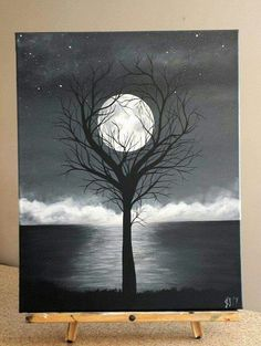 """Painting By J Baldwin """"Unity"""" acrylic black and white tree surreal moon painting 16x20 wrapped canvas Acrylic medium $200 Canadian. Made to order.  https://www.facebook.com/BaldwinDesign/ http://www.baldwindesign.org  I thought you'd like this Board on Pinterest... http://pin.it/MzAtoaM Acrylic Canvas, Painting On Black Canvas, Painting Trees On Canvas, Unity Painting, Canvas Painting Projects, Monochrome Painting, Tree Paintings, Acrylic Painting Canvas, Easy Paintings"""