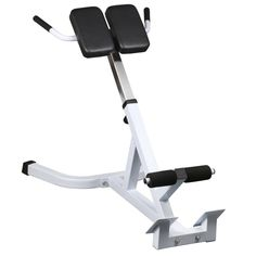 Topeakmart 45 Degree Hyperextension Roman Chair Extension Back Exercise AB Bench. Bench places less stress on the lower back than standard Abs benches. Powder coated scratch resistant & rust resistant finish. Overall Size: 40(L) x 24.4(W) x 27.6- 32.7 inches(H) ;Tube size: 2 x 2 x 0.08inches. Single Pad size: 9.8 x 5.9inches; Thickness of the pad: 2inch. Material: steel; Max Weight Capacity: 440 lbs ;G.W.: 29.8 lbs.