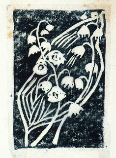 Eveline Winifred Syme (Australian, 1888-1961) - Lilies of the valley, 1954 - Linocut