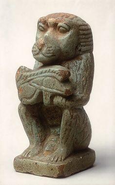 Baboon with a wedjet eye, Dynasty 26 (ca. 688–525 B.C.)  Egyptian  Faience