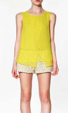 Yellow Sleeveless Lace Shirt