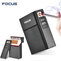 Brand New Ciagrette Holder Box with Removable USB Electronic Lighter Flameless Windproof Tobacco Cigarette Case Lighter - People Gadgets Electronics Gadgets, Tech Gadgets, Usb, E Commerce, Cool Lighters, Cigarette Case, Latest Gadgets, Cool Inventions, Cool Technology