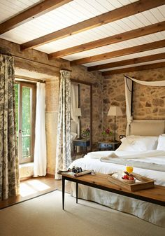 Wood and stone warm up this room