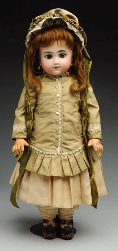 "Lot: Exquisite French ""F"" Bébé Doll., Lot Number: 0077, Starting Bid: $650, Auctioneer: Dan Morphy Auctions, Auction: Toys, Trains, Marbles & Dolls Sale Day 1, Date: September 10th, 2015 CDT"