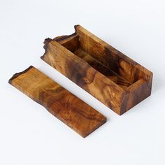 A Beautiful Wooden Box Handmade From Oregon Myrtlewood. It Has Highly  Figured Grain And A Natural Live Edge On One End. The Lid Lifts Off Easily