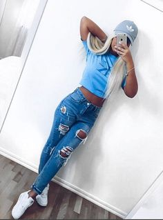 56 Casual And Cute Summer Outfits - Page 2 of 6 - Style O Check Teen Fashion, Fashion Outfits, Womens Fashion, Style Fashion, Fashion Trends, Dope Outfits, Casual Outfits, Jean Outfits, Mode Jeans