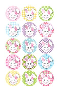 Easter Bunny Bottle Cap | Holiday Bottle Caps Designs | Easter- Floppy eared bunny: