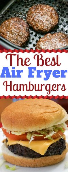 The Best Air Fryer Hamburgers If you're like me and you don't like the mess and hassle of cooking hamburgers on the stove top, you'll love these Air Fryer Hamburgers. They taste delicious and there's no greasy mess to clean up. Air Fryer Recipes Hamburger, Air Fryer Oven Recipes, Air Frier Recipes, Air Fryer Dinner Recipes, Hamburger Recipe Stove Top, Recipes With Hamburger Patties, Easy Hamburger Meals, Supper Recipes, Appetizer Recipes