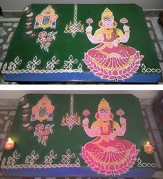 Happy DeepaavaLi  This year DeepaavaLi rangoli done free hand, of course sikku lamp & border with dots . Initially had put only Ganesha on first day, later added Goddess Lakshmi on second. Lord