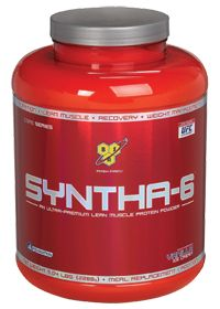 BSN Syntha-6 Vanilla Ice Cream Protein Mix JUST MADE THE BEST SHAKE EVER! 1 scoop Syntha-6 8 oz. skim milk 4 pineapple chunks 3 chopped strawberries 1 tblsp. Strawberry Polenar All-Fruit
