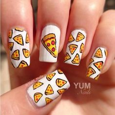 Pizza nails - Google Search | Everything Clothes | Pinterest ❤ liked on Polyvore featuring beauty products and nail care