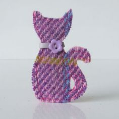 Harris Tweed Cat Brooch