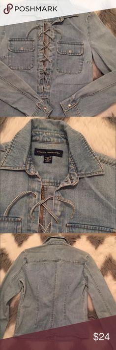French connection Denim shirt blue size 6 Lace Up French connection Women's Denim Blue Lace Up Shirt Long Sleeve Size 6 French Connection Tops Blouses