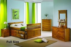 Full Size Honey Mission Captain's Bed 103TH by Donco