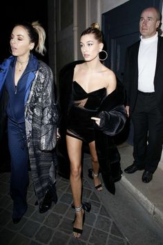 Model Style: Hailey Baldwin showed off her stems in this velvet mini and the cutest shoes during Paris Fashion Week