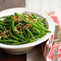 Sauteed Green Beans with Shallot Crisps
