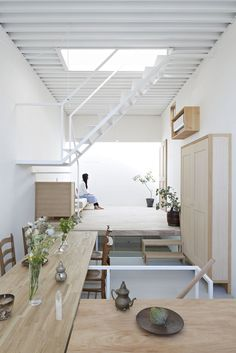 STAIRS TO LOFT - House in Itami - Tato Architects...this looks like a container home?