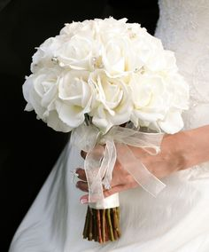Sparkling Bridal Bouquet - White Roses with Rhinestone Crystals. Real Touch Flowers.
