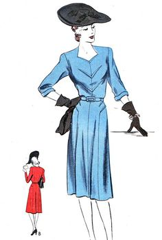 1940s Dress Pattern Vogue 9281 Day or Evening Gored by paneenjerez, $65.00