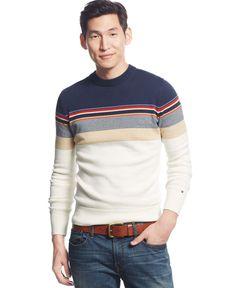 Mens Striped Sweater, Men Sweater, Knitwear Fashion, Sweater Fashion, Polo T Shirt Design, Tommy Hilfiger, Football Shirts, Men Casual, Mens Fashion