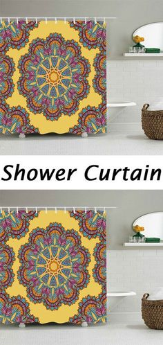 Bohemian Mandala Flower Shower Curtain. Home Decor ...