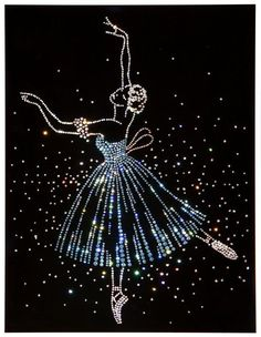 Diy Crafts - Ballet Dancer Art made with Swarovski Crystals on Black Velvet under Glass from Otabix Dot Art Painting, Mandala Painting, Mandala Art, Button Art, Button Crafts, Embroidery Jewelry, Beaded Embroidery, Rhinestone Art, Ballet Dancers