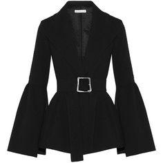 Rejina Pyo Claire belted cloqué blazer (36.340 RUB) found on Polyvore featuring women's fashion, outerwear, jackets, blazers, tops, coats, black, belted jacket, cinch jackets and peplum blazer