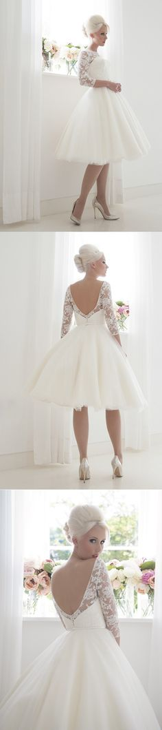 lace long sleeves v neck tea length wedding dress