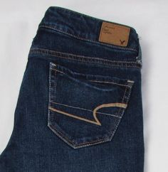 Women American Eagle Skinny Jeans Stretch Low Rise Whisking Dark Wash 00 X 32 #AmericanEagleOutfitters #Skinny