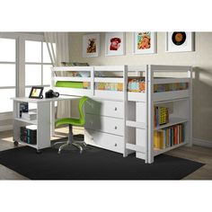 Donco Kids Low Study Loft Desk Twin Bed with Chest and Bookcase - Overstock Shopping - Big Discounts on Donco Kids Kids' Bedroom Sets
