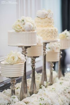 Mini wedding cakes, cake stands, elevated wedding cakes, bed of flowers, wedding sweet table LUXURIOUS BLACK & WHITE WEDDING IN TORONTO www.elegantwedding.ca