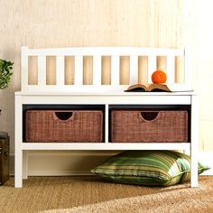 <p>Give guests a stylish spot to kick off their shoes with also outfitting your entryway with this charming bench.</p><p>Showcasing a slatted low back design and clean-lined 4 foot base, it is crafted of solid rubberwood and manufactured wood. A solid finish lets it offer up versatile appeal, while 2 woven wicker drawers add a splash of coastal-inspired charm.</p><p>Try adding on a few starfish-printed pillows and roll out a classic jute rug underneath ...