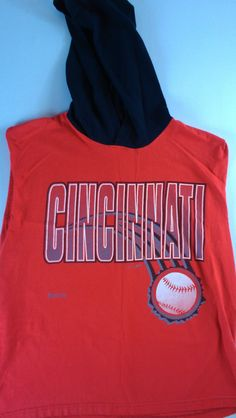 Cincinnati Reds Hoodie T-Shirt Sleeveless 90s Mens XL Griffey Jostens Sportswear 1993 Cincy USA Made Cotton MLB http://etsy.me/1k8TA0e