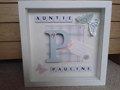 Personalised Scrabble Art Auntie Aunty name Initial Box frame Picture Keepsake Scrabble Wall Art, Letter Wall Art, Scrabble Letters, Scrabble Crafts, Frame Crafts, Diy Frame, 3d Picture Frame, Picture Boxes, Christening Gifts For Girls