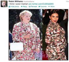 Robin Williams on Kim Kardashian's ugly ass Givenchy moo moo