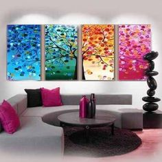 cuadros para living modernos abstractos Colorful Abstract Art, Abstract Flowers, Decoration, Art Decor, Home Decor, Multiple Canvas Paintings, Bed Picture, Family Room Walls, Rain Art