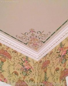 Our Victorian Ceiling Corner Stencils adds a traditional design to light fixtures or complements a European style living room, dining room, or entry. You can al