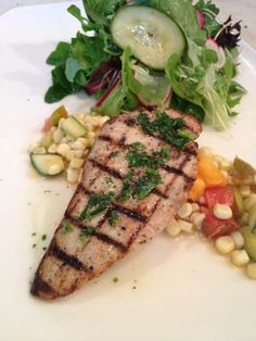 Special Tonight: Grilled Local Yellowtail with White Corn, Heirloom Tomato & Summer Squash Succotash