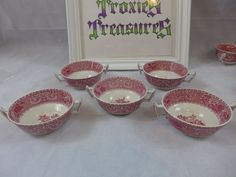 SPODE CHINA RED CAMILLA RED & WHITE CREAM SOUP BOWLS LOT OF 5 MADE IN ENGLAND   #Spode