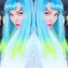 Ta-da! Aqua to neon lime ombré, I LOVE IT!!!  By the way, it's official: Lime Crime is developing our own #HAIRDYE, so I'll be experimenting with color a lot in the next few months!
