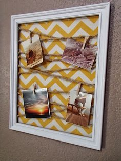 Tutorial for how to make a DIY memo/picture board! Easily customizable using different colors and fabrics. Cute Crafts, Crafts To Do, Craft Gifts, Diy Gifts, Memo Boards, Cork Boards, Craft Projects, Projects To Try, Diy Cadeau