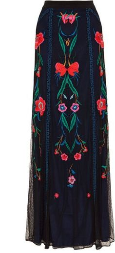 Swiss dot black sheer tulle long skirt with vibrant-colored floral embroidery inspired by Renaissance work. By Temperley London. on Lyst.