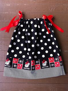 Girls UGA game day pillowcase dress. Red, black, white polka dot, stripes, & collegiate fabric. Children's clothing By EverythingSorella