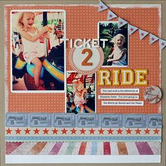 Like the ticket boarder at bottom. good layout for Disney, Legoland, or fair scrapbook layout