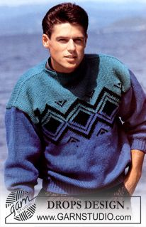 """DROPS 8-8 - DROPS jumper with pattern border in """"Alaska"""". Ladies and Men's sizes S – L. - Free pattern by DROPS Design"""