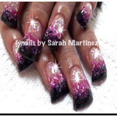 Acrylic nails black & pink - minus the duck feet