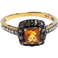 Vintage Citrine Halo Ring with Chocolate Diamonds, White Diamonds and Filigree and 10K Gold