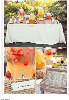 Outdoor Party Food Display | drink station like at Magda's wedding | Outdoor Farm Wedding Ideas
